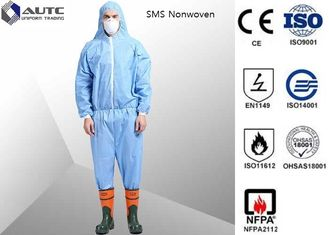 China Non Woven Chemical Protective Clothing Full Face Two Way Zipper Bound Seams supplier