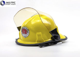 China Fire Construction Safety Helmets Face Shield Yellow Polyamine Flame Retardant supplier