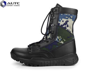 China Current Comfortable Black Military Boots  Camouflage Design Durable Sole supplier