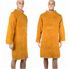 Durable Cow Leather Welding Clothes Long Coat Apron Protection Clothes PPE Safety Wear