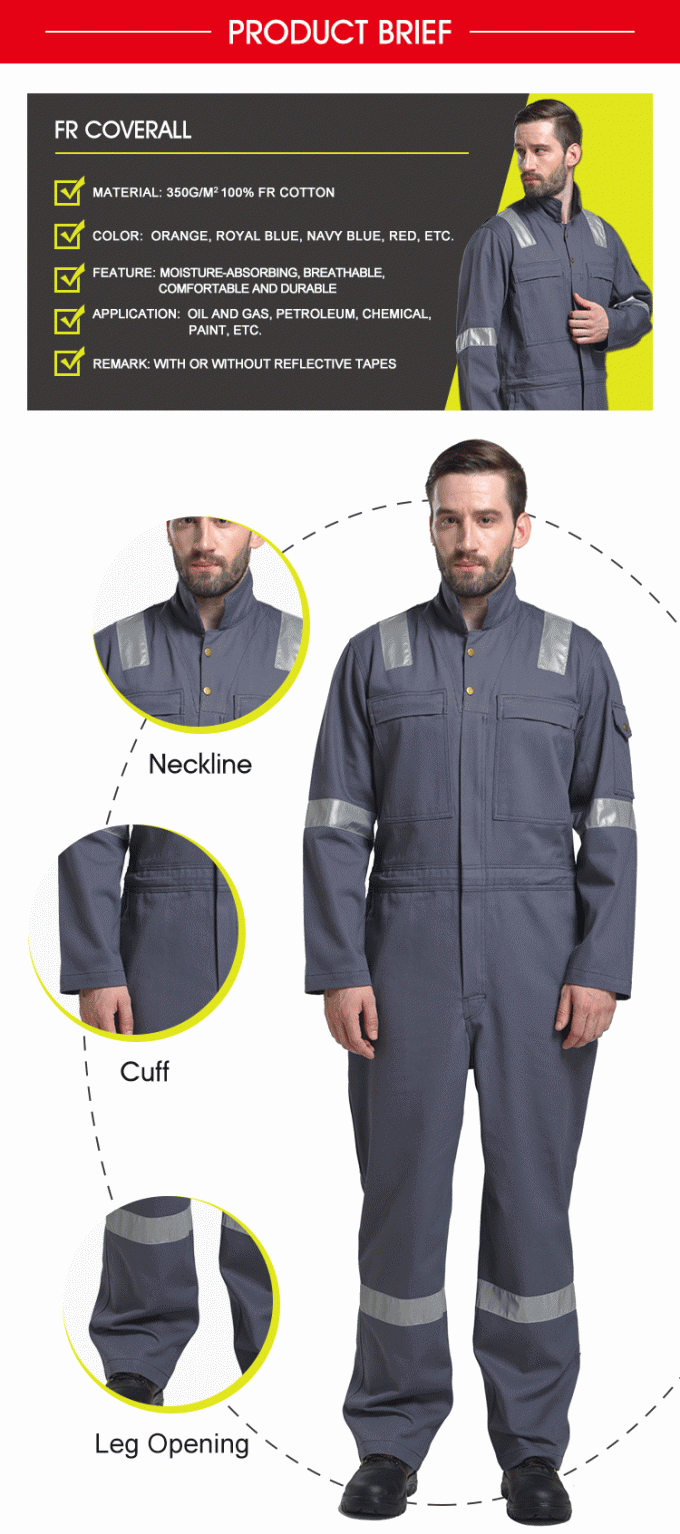 Lightweight Site PPE Safety Wear Clothing , Work PPE Clothing FR Cotton Flame Retardant