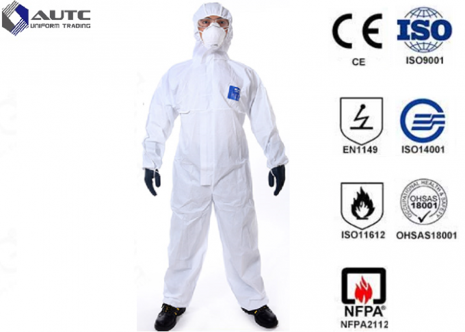 Comfortable PPE Safety Wear , Chemical Protective Suit Breathable Optimum Fit