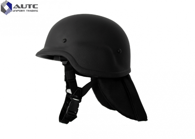 Light Weight Advanced Combat Helmet Black Ear Backneck Protection