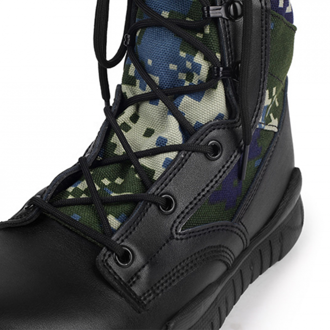 Current Comfortable Black Military Boots  Camouflage Design Durable Sole