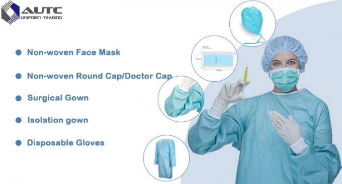 Clear Round Surgical Scrub Caps Food Industry Lightweight Blue Color 60x14cm
