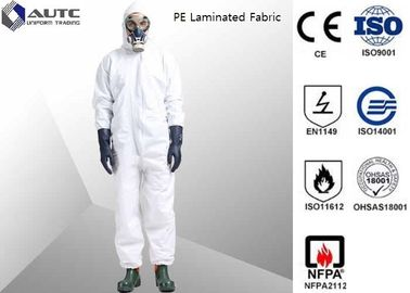 China PE Laminated PPE Safety Wear , Chemical Resistant Coveralls With SMS Back Panel factory