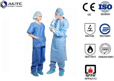 China Clinical Doctor Light Blue Scrubs Fluid Resistant Lint Free With Waist Tie distributor